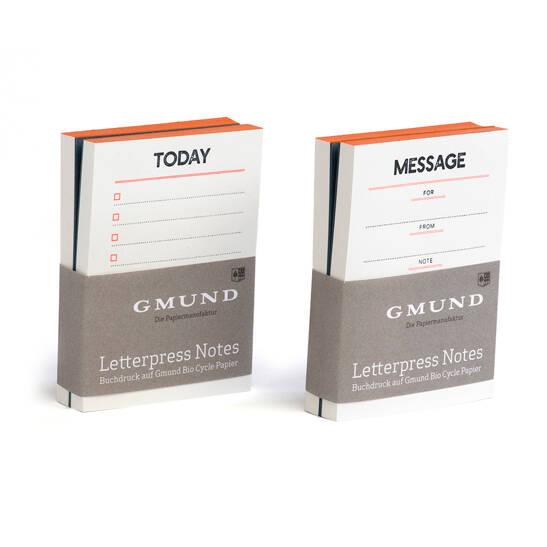 Gmund Letterpress Notes Set Neon orange/blau