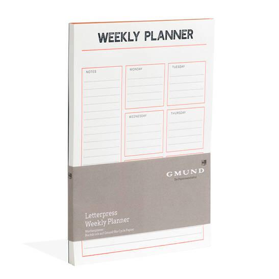 Gmund Letterpress Weekly Planner Neon orange/blau
