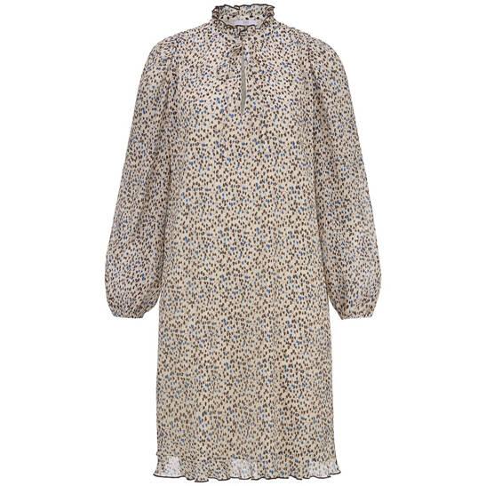 Kleid mit Gingko-Print und feinen Plisseefalten