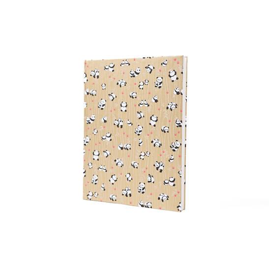 Notizbuch Tokyo Memo Chiyogami 17x22cm 120 S. Pandas auf gold