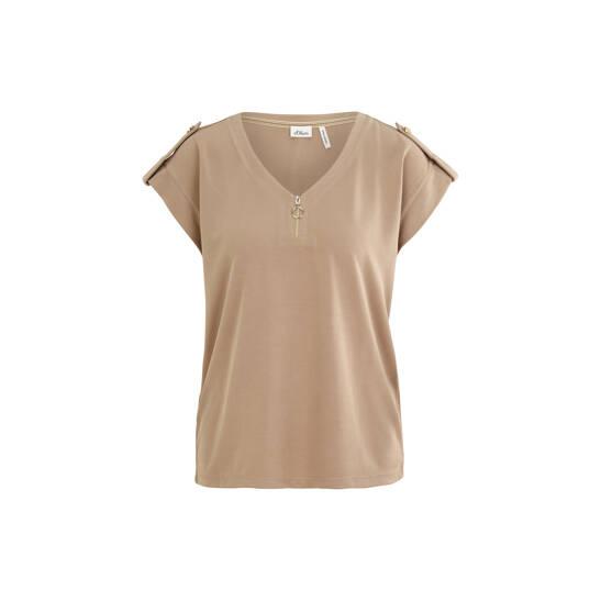 T-Shirt mit Zip Detail